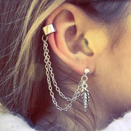 lEIsr00y Earrings 1Pc Punk Tassels Chain Leaf Fish Cross Charms Ear Stud Cuff Earring Jewelry Gift Chic Personality Silver Single Leaf