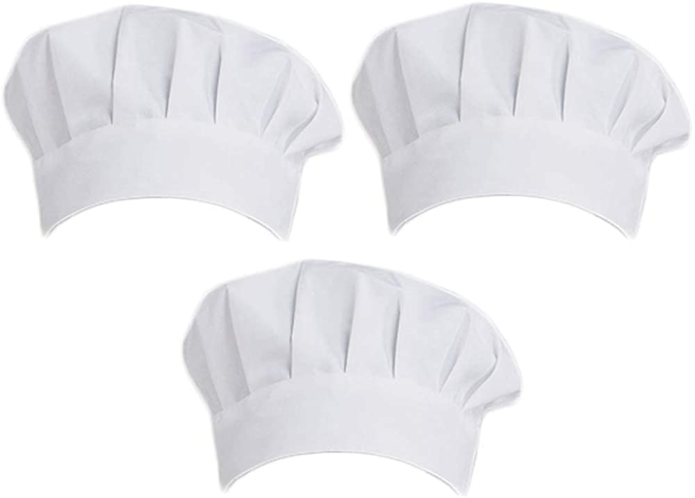 ATTEEN 3 Pcs Adult Chef Hat Unisex Adjustable Elastic Kitchen Cooking Chef Cap White