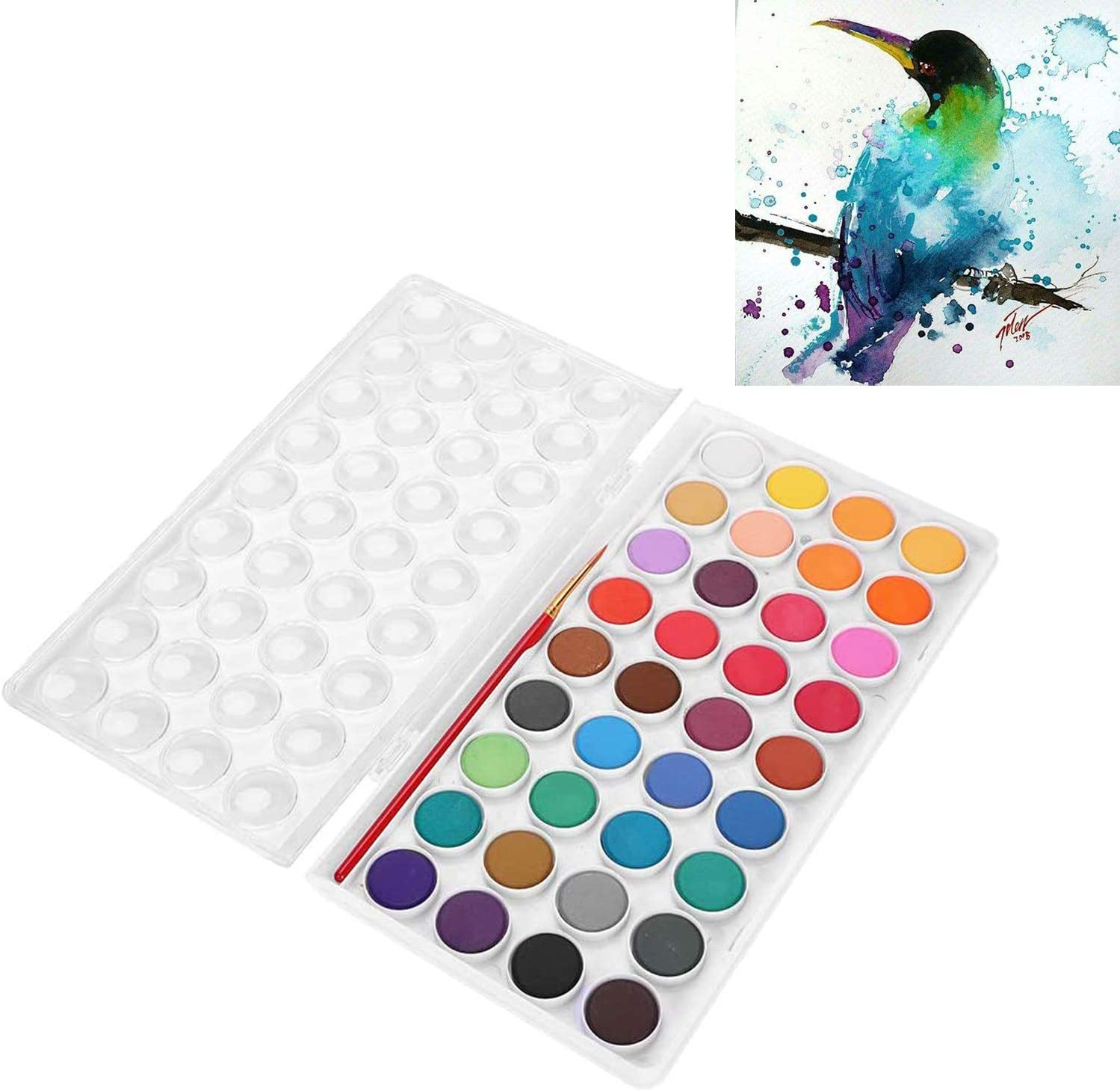 Watercolor Paint Set, 36 Assorted Vivid Colors Solid Cakes Travel Palette Art Supplies with Water Brush for Kids Student Artist