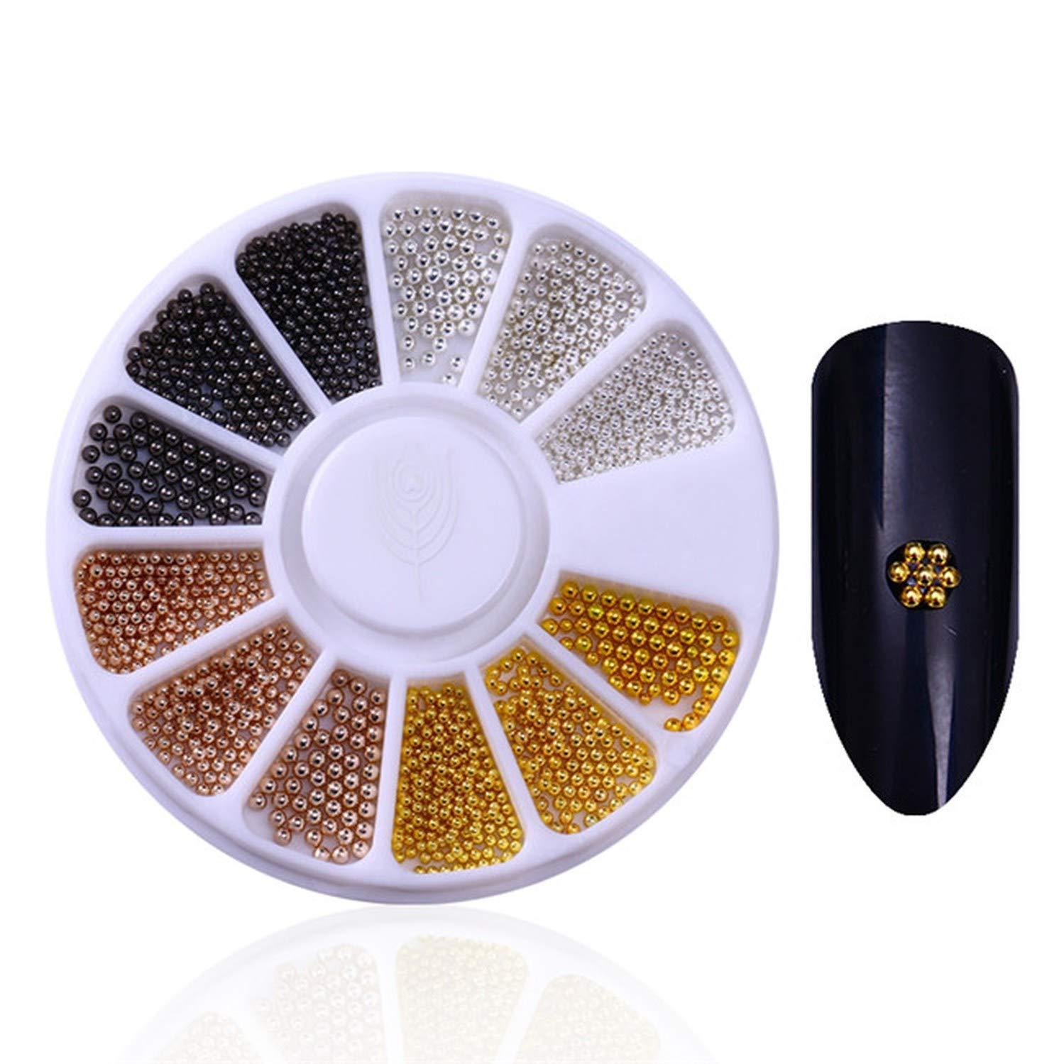 Mixed Silver Round Nail Art Decoration in Wheel Nail Rhinestones for Acrylic UV Gel Shining Body Art Nail Accessories,Caviar Beads