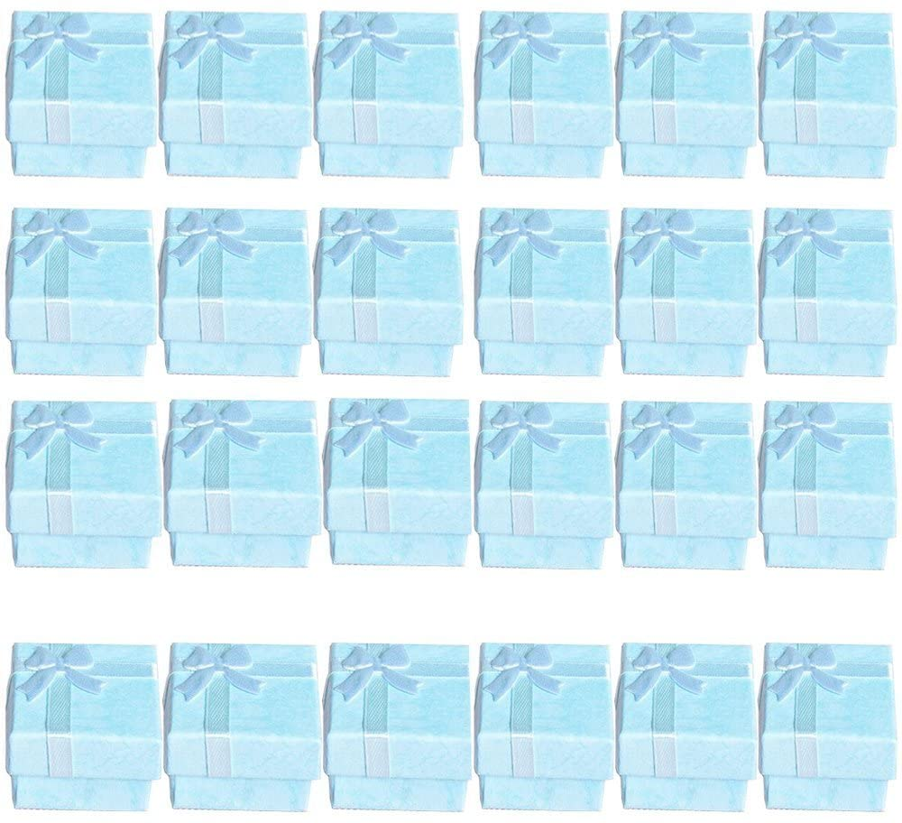 Glitterymall 24pcs Cardboard Jewelry Box Gift Ring Earrings Pendant Boxes Small Gift Box Holder Robin's Egg Blue Color