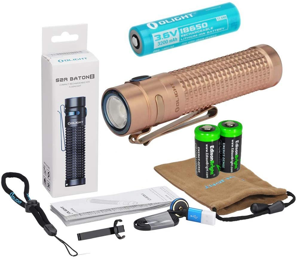 Olight S2R II rechargeable 1150 Lumens LED Flashlight EDC with Li-ion battery, flex magnetic USB charging cable and 2 X EdisonBright CR123A Lithium back-up Batteries bundle (Copper)