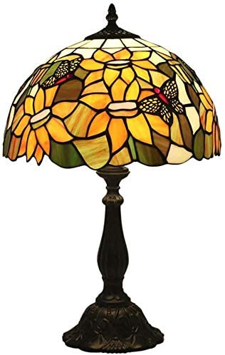 12 Inch Tiffany Style Table Lamp Led Stained Glass Shade Desk Lamps Living Room Bedroom Bar Cafe Decoration Reading Bedside Lamps,e27,max60w