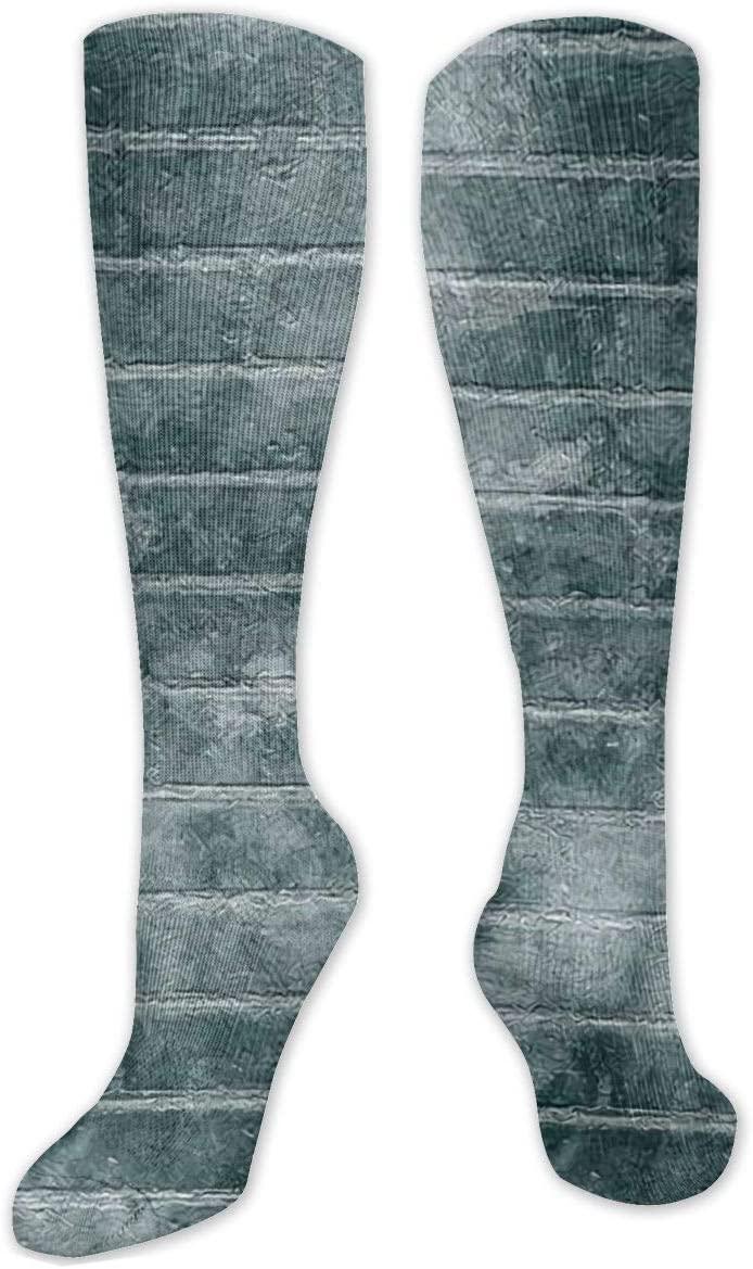 Compression Sock for Women & Men,Abstract Brick Wall CasualLongKneeHighTubeSocksforRunnning,SoccerAthleticSports,Travel-50cm