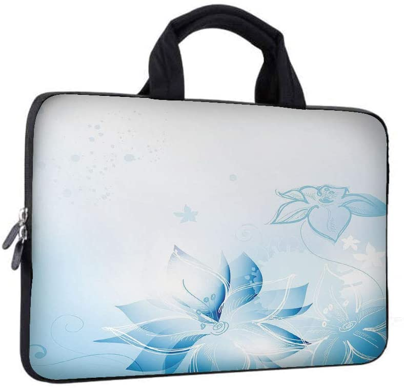 12 Neoprene Laptop Bag,Light Blue Artistic Magical Business Briefcase Compatible with MacBook Air