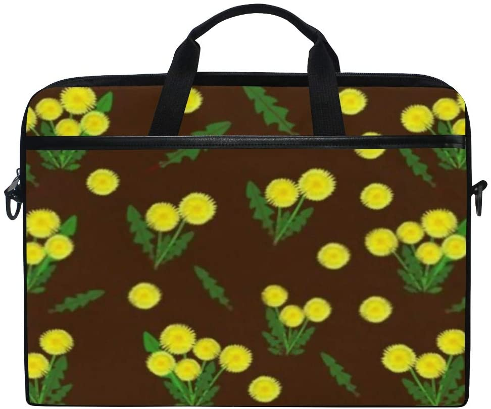 Laptop Bag Floral Bright Yellow Dandelions On Retro 15-15.4 Inch Laptop Case Sleeve, Briefcase Messenger Shoulder Bag for Men Women, College Students Business People Office Workers