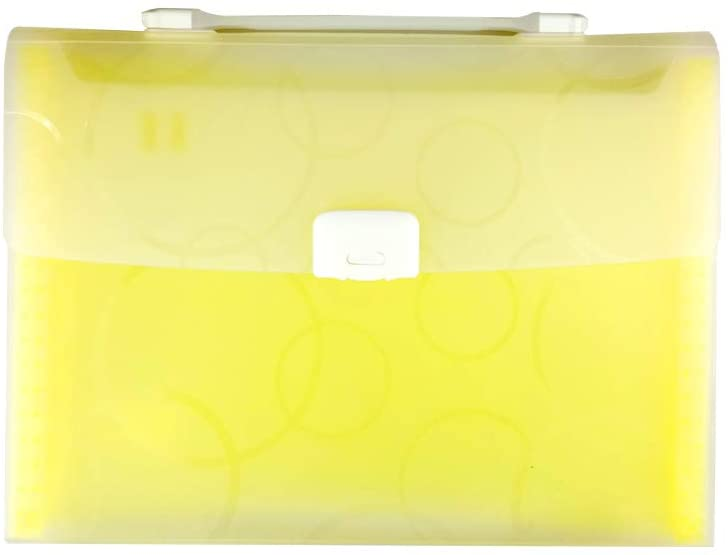 Tomair Expanding File Folder 7 Pockets (Included Naming Tabs), Accordion Document Organizer with Handle,Organizer for School Paper,Business Office Student Plastic Folder Organizer(Yellow)
