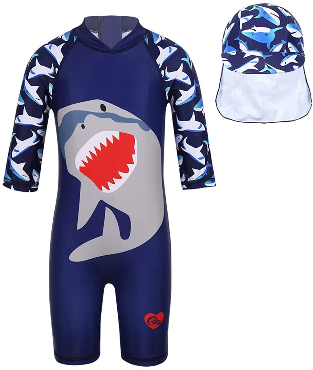 Aiihoo Kids Boys One Piece Shark Pattern Printed Zipper Swimsuit Beachwear with Swimming Cap