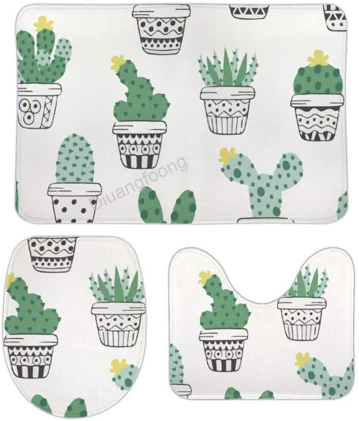 Bathroom Bath Mat 3 Piece Set Cactus Succulents Non-Slip Pedestal Rug + Lid Toilet Cover + Bath Mat Set