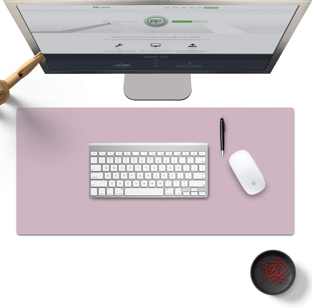Pu Leather Desk Pad Mat 35.4X 15.7inch,Desk Blotter Protector for Computer and Laptop Extended XL Smooth Writing Cover Comfortable Surface for Working Office and Home Thin Waterproof Dual Sided Pink