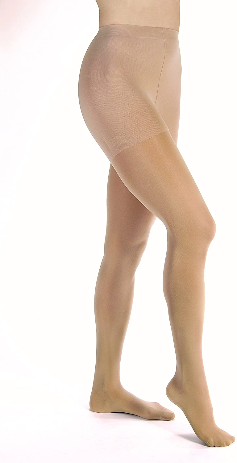 Women's Opaque 30-40 mmHg Extra Firm Support Pantyhose Size: X-Large, Color: Silky Beige