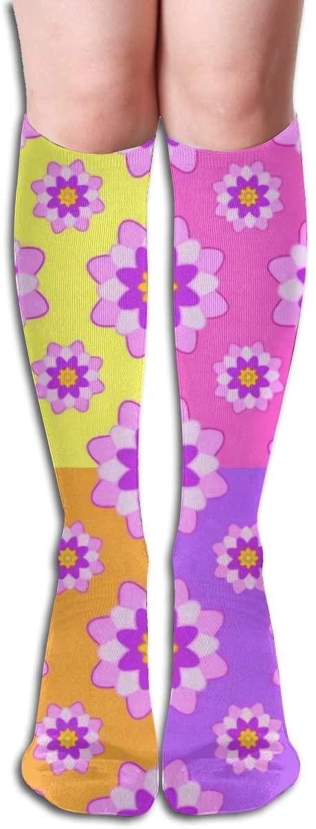 Yellow, Pink, Orange and Purple,Design Elastic Blend Long Socks Compression Knee High Socks (50cm) for Sports