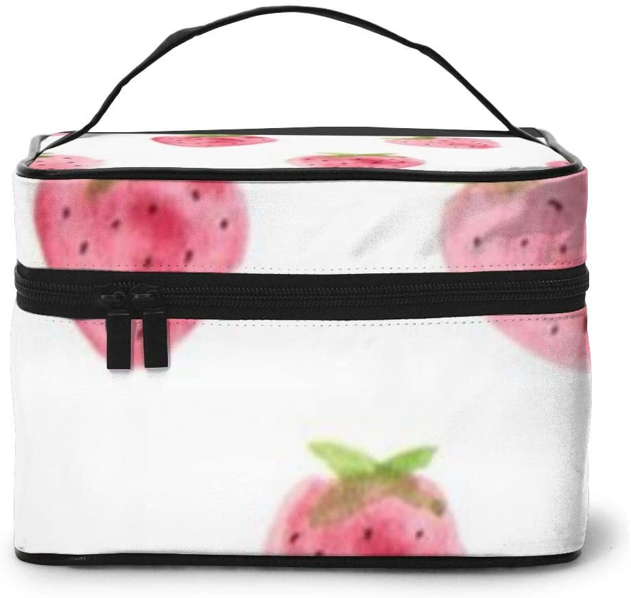 Large Cometic Travel Bag,Strawberry Portable Travel Toiletry Bag Cosmetic Make Up Organizer For Women And Girls