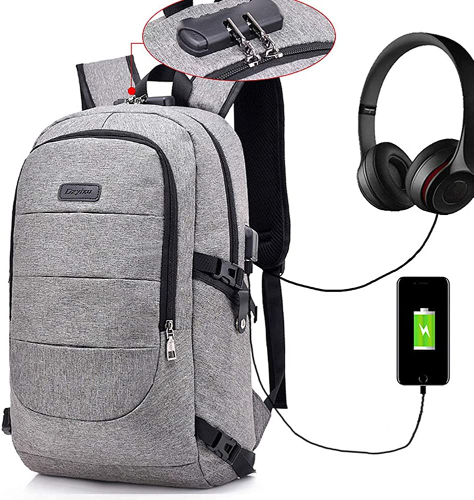 Laptop Backpack for Men, Business Anti Theft Waterproof Travel Backpack for Men with USB Charging Port & Headphone Interface for College Student,Fits Under 17 Inch Laptop Notebook (Grey)