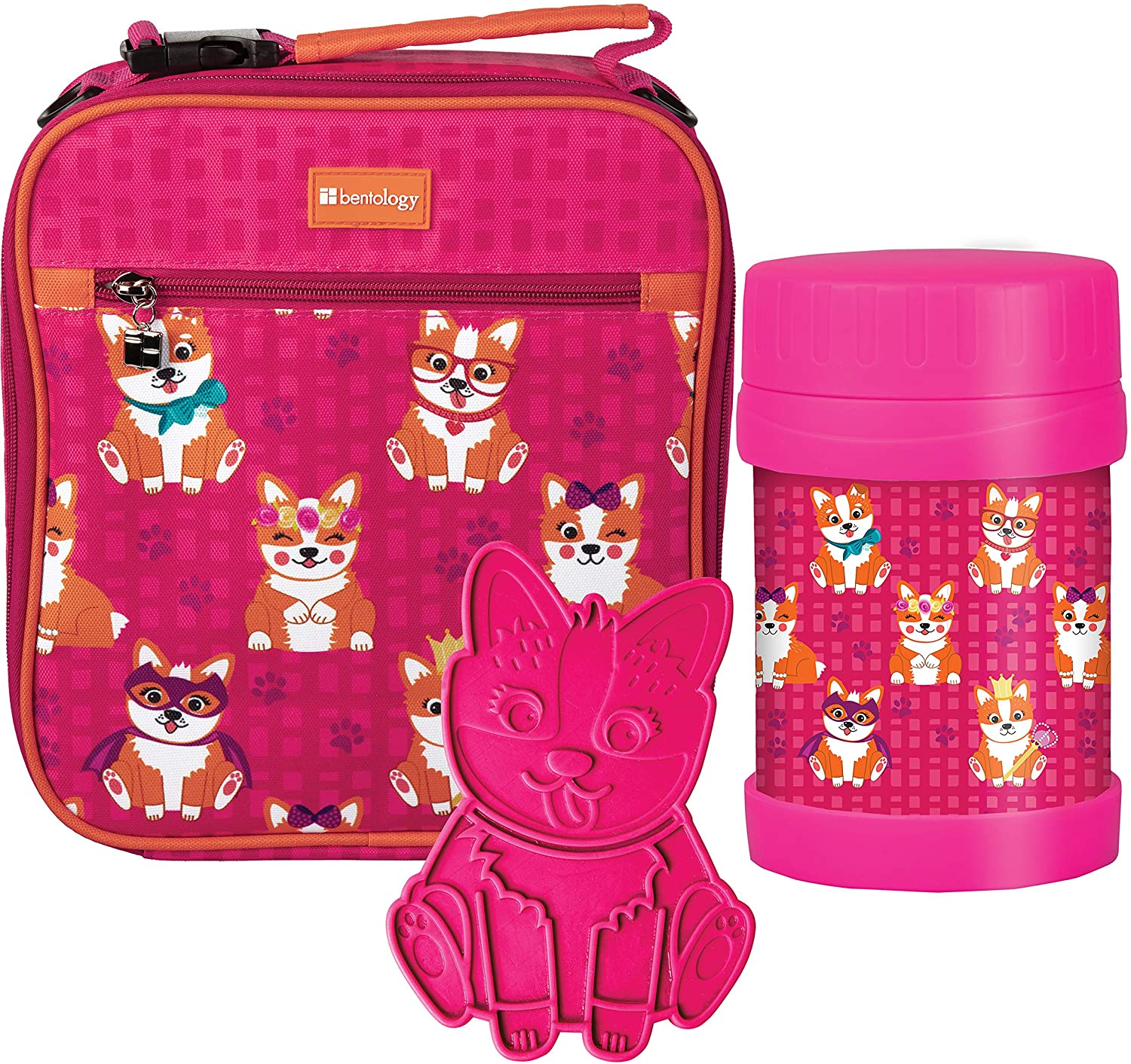 Lunch Box Backpack Kit w 13 oz Food Jar Container & Hard Ice Pack - Reusable Insulated Lunch Bag Meal Tote w Back Straps & Handle for School for Kids, Toddlers – Works w Bento Box, PVC Free – Corgi