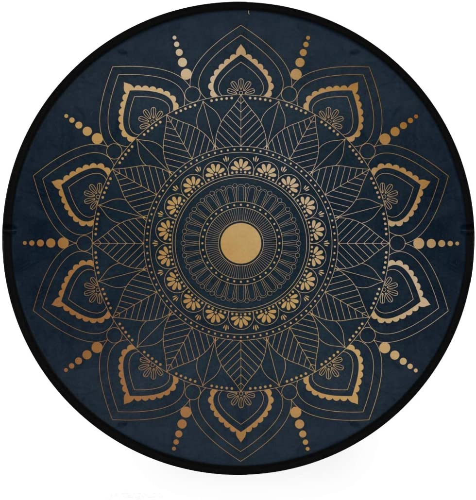 Shiiny Mandala Background Soft Round Bath Mat or Rug Place in Front of Shower, Vanity, Bath Tub, Sink, and Toilet
