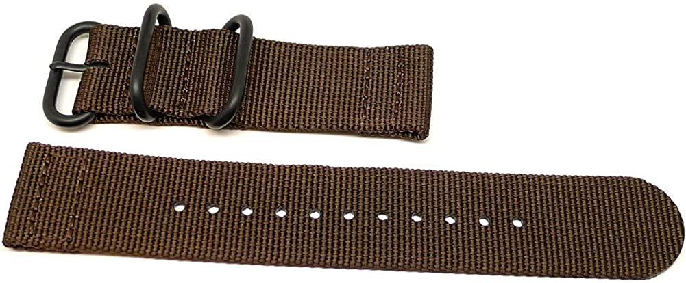 DaLuca Two Piece Ballistic Nylon Watch Strap - Brown (PVD Buckle) : 26mm