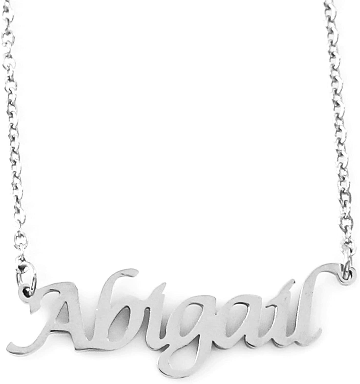 Zacria Abigail Silver Tone Name Necklace