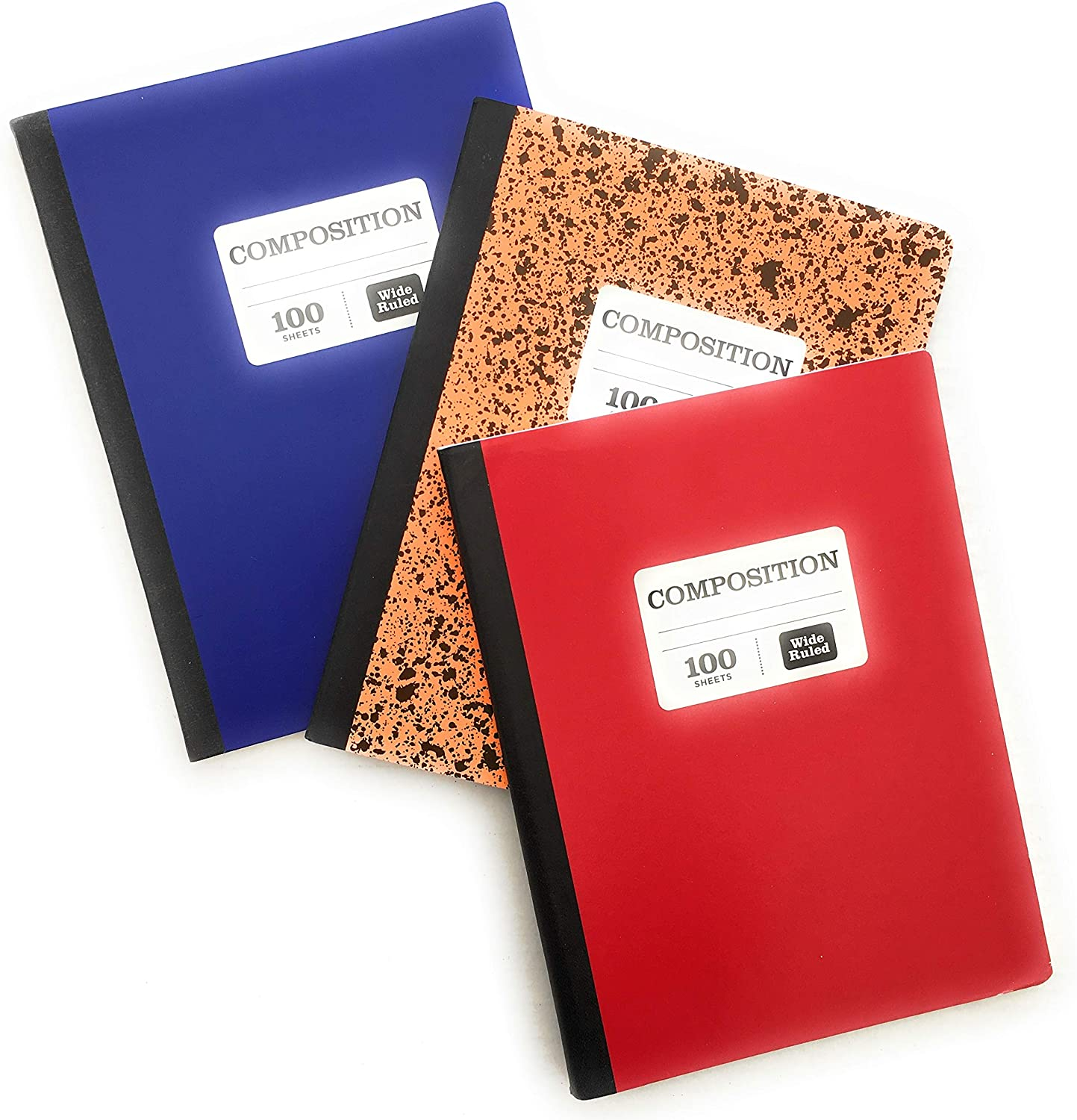Wide Ruled 100 Sheets Composition Notebooks (Pack of 3) Blue, Orange, Red