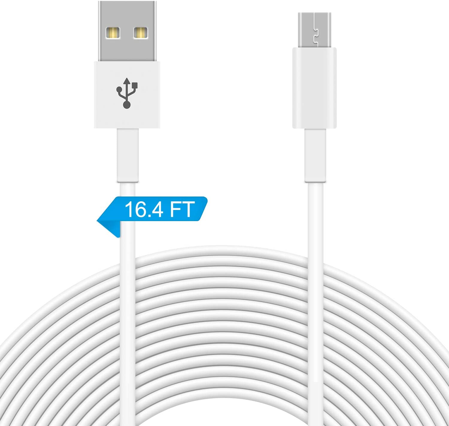 16.4FT Power Extension Cable Compatible with WyzeCam,WyzeCam Pan,Yi Camera,NestCam Indoor,Netvue,KasaCam Indoor,Furbo Dog,Zmodo Wireless Cam,Drop cam,USB to Micro USB Charging Cord for Security Cam