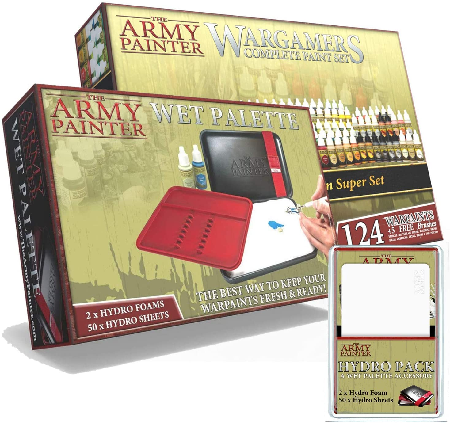 The Army Painter Complete Paint Set - Wet Palette - Hydro Pack Bundle: Miniatures Painting Kit with 124 Model Paints, 5 Bonus Miniatures Paint Brushes, Wet Palette and Complete Refill Package