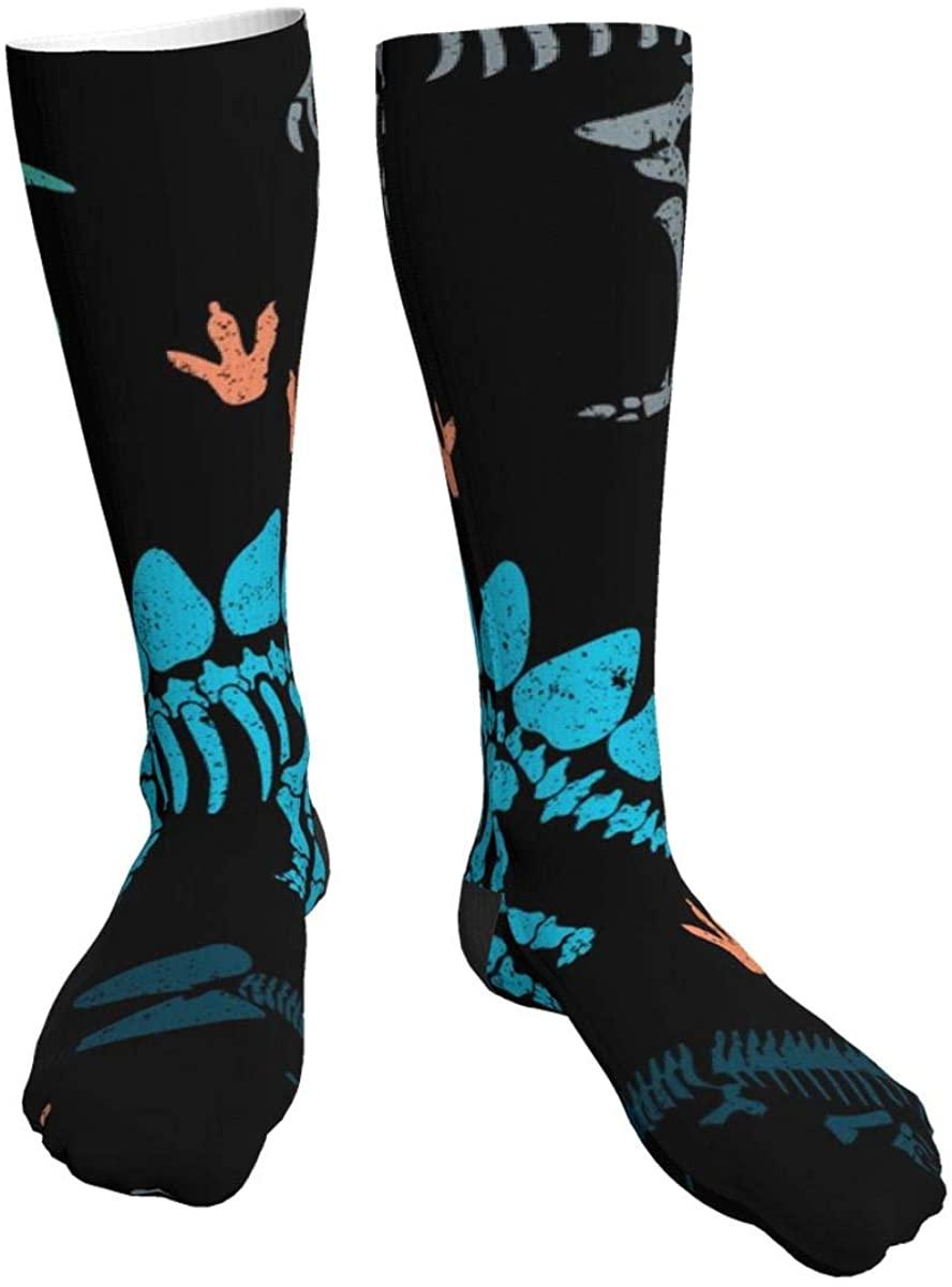 Dinosaur Skeleton Men Women Classics Thick Socks Personalized Athletic Socks -All Season(One Size)