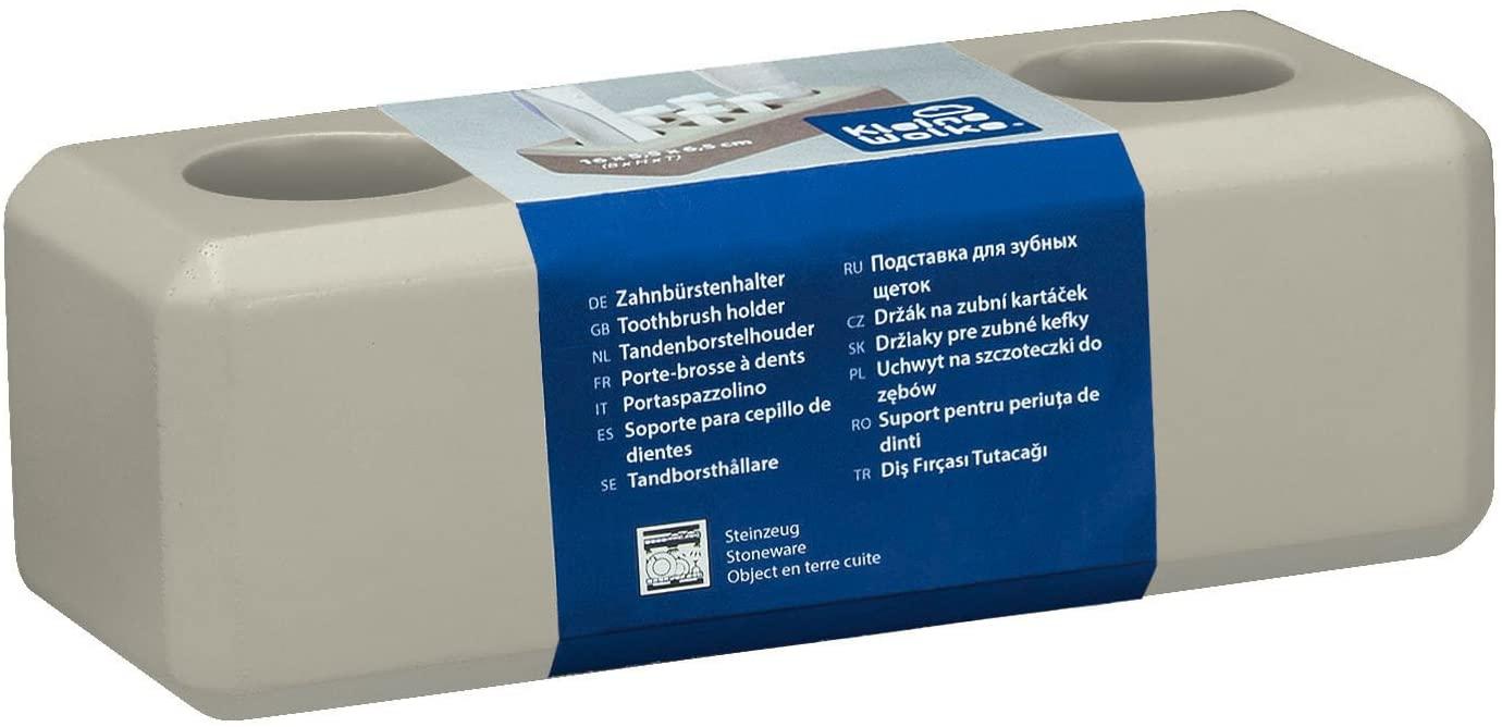 Kleine Wolke 4004478279018 Toothbrush Holder Loft, Stone Grey, 6.5 x 16 x 5.5 cm