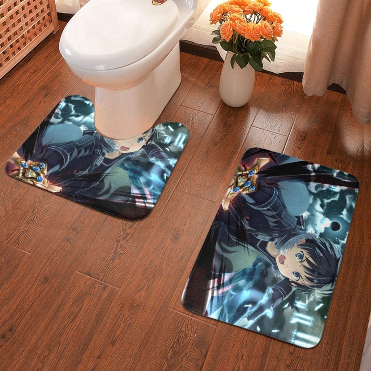 Anime Sword Art Online Bathroom Antiskid Pad Non-Slip Bath Carpet Floor Mat Rug 2 Sets -Floor Mat+U-Shaped Pad, Toilet Washable Blanket Mats for Bathroom Home Shower