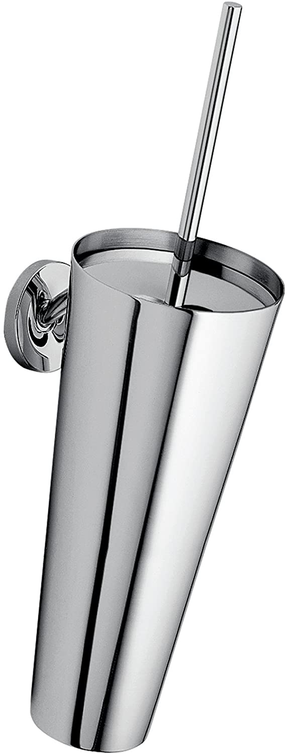 AXOR Toilet Brush with Holder Wall-Mounted Easy Install 15-inch Modern Accessories in Chrome, 40835000