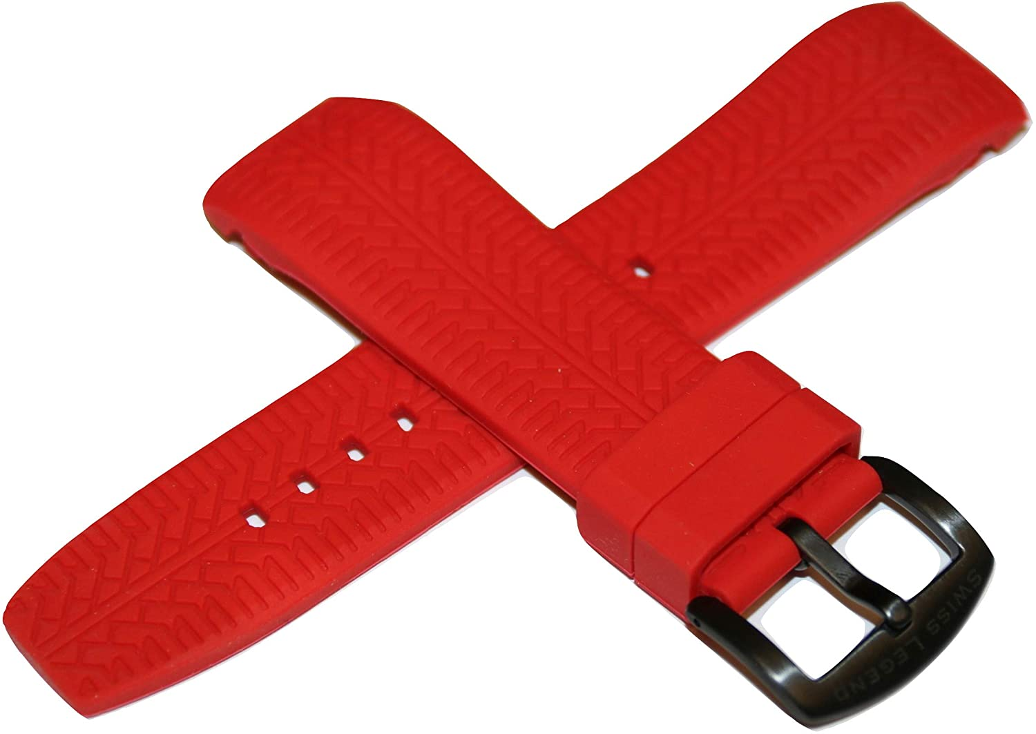 Swiss Legend 26MM Red Silicone Watch Strap & Black Stainless Buckle fits 47mm Sprinter Watch