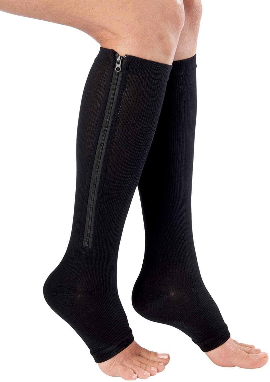 Bcurb Graduated Compression Zip Socks Sports Medical Support Recovery Stockings (Black - 1 Pair Zipper Socks, Calf = 11