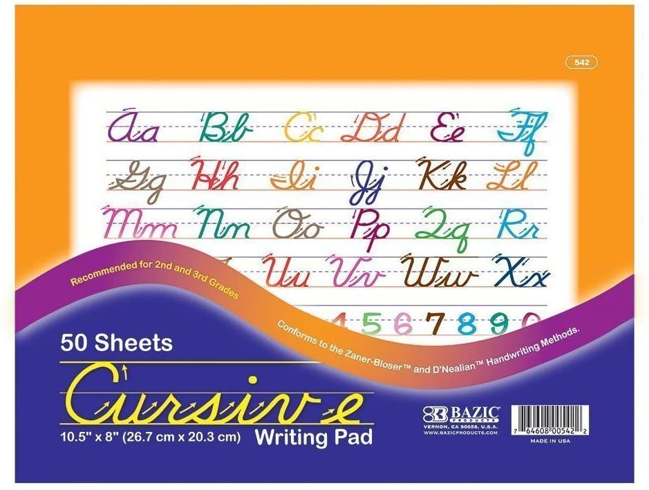 3 Pk, BAZIC Cursive Writing Pad, 10.5 X 8 Inches - 50 Sheets Per Pack