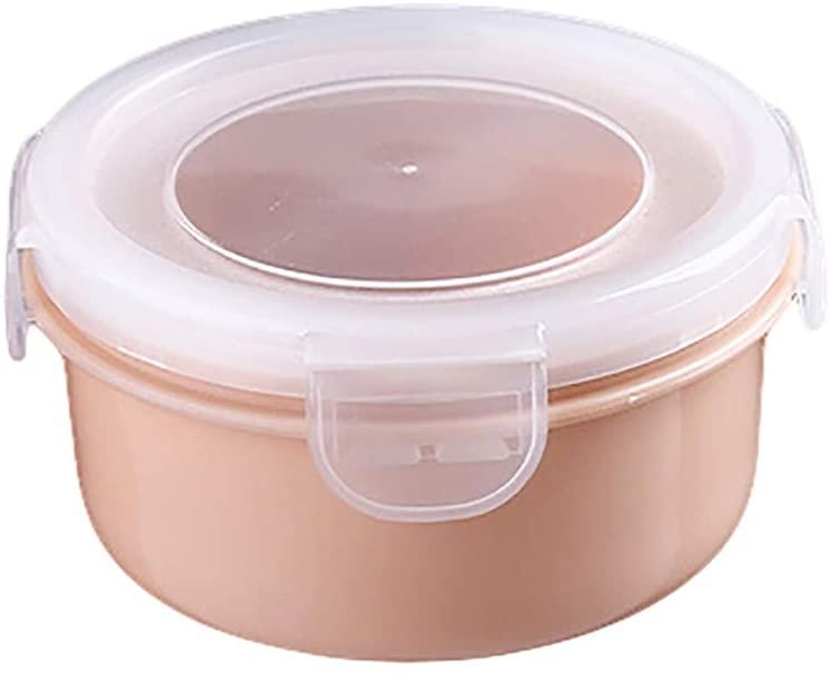 Lunch Box, Maserfaliw Round/Rectangle Kitchen Organizer Food Storage Container Seal Crisper Lunch Box, Travel Essential, Students, Work. Pink Round