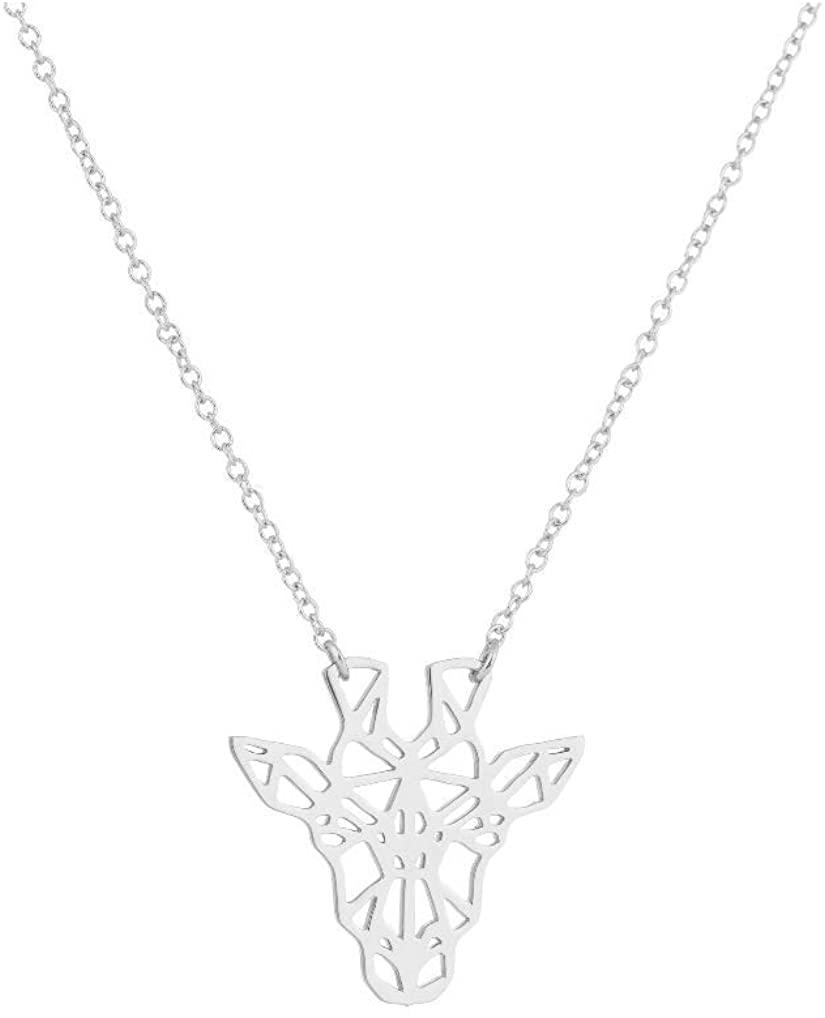 AOJJ Hollow Giraffe Necklace Giraffe Geometric Animal Ornament Minimalist Necklace Minimalist Ornament.