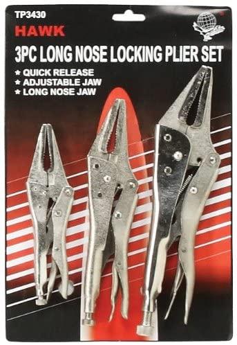 Hawk TP3430 Long Nose Lockgrip Set, 3-Piece