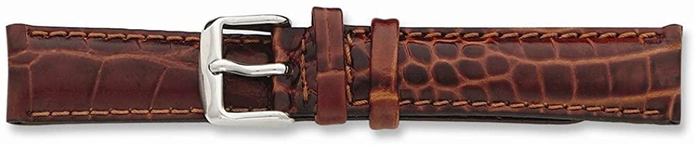 Sonia Jewels 28mm Long Havana Croc Chrono Silver-Tone Buckle Watch Band 8.5