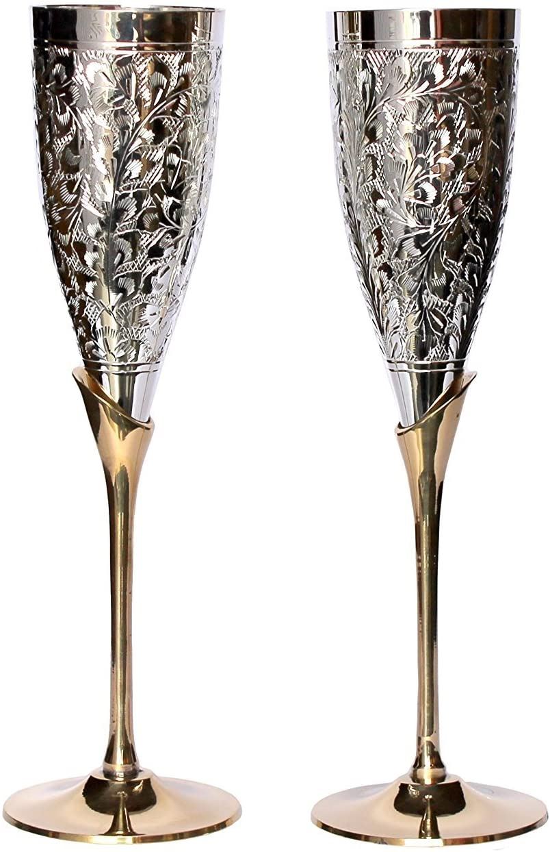 Royal sapphire Set of 2 Silver Plated Brass Wine Goblets with original Red Velvet Box, Silver Plated Brass Champagne Flutes, Engraved Wine cups, Engraved Champagne Flutes, Silver Plated Goblets