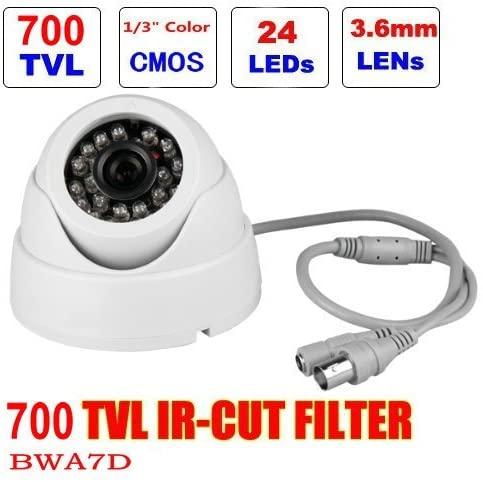 BW BWA7D 1/4'' 700TVL Indoor Day Night Security Surveillance CCTV Dome Camera with 20M IR Range Night Vision-White