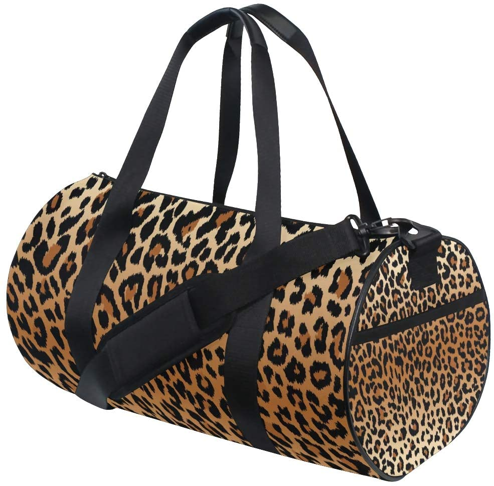 Brighter Leopard Pattern Fitness Sports Bags Gym Bag Travel Duffel Bag for Mens and Womens