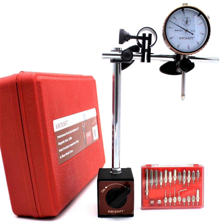 KHCRAFT Professional Dial Indicator Magnetic Base: Dial Indicator 0-1