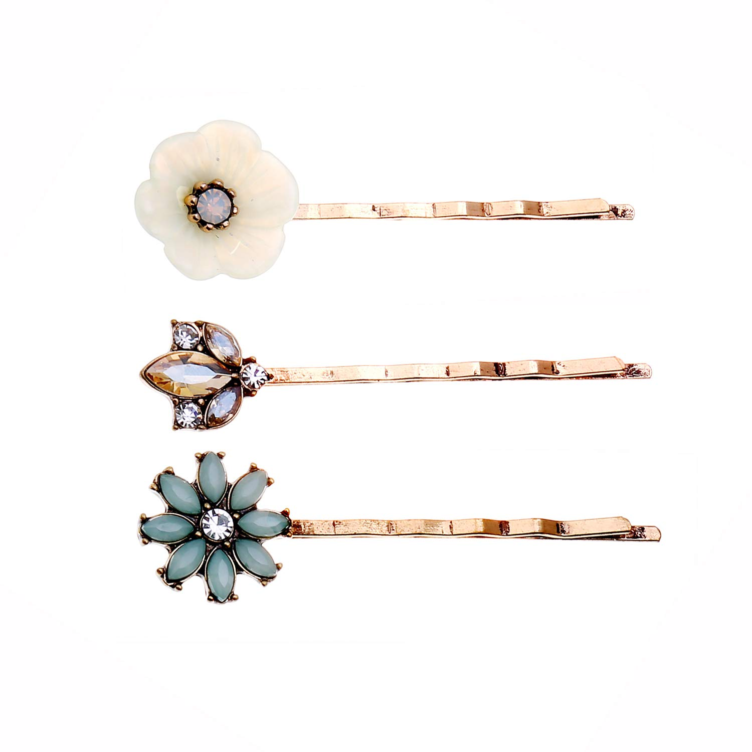 Vintage Crystal Rhinestone Hair Pins 3 Pieces Crystal Diamond Flower Hair Clips Set for Women