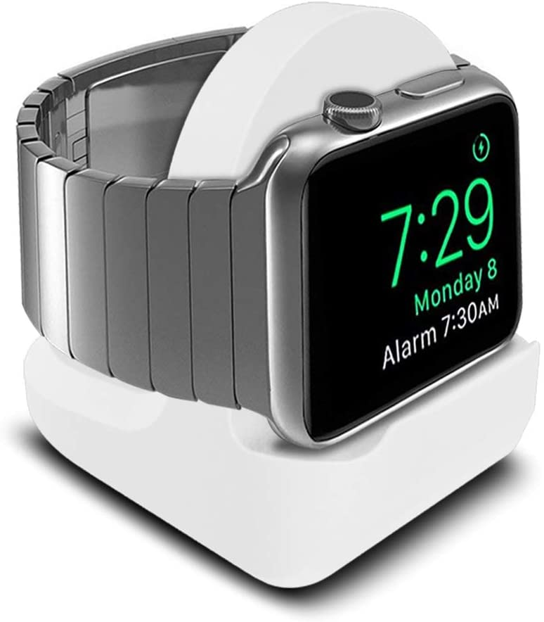SFCCMM Compact Stand Compatible with iWatch - Nightstand Mode Compatible - Support Stand with Integrated Cable Management Slot (Series 5/Series 4/Series 3/2/1/44mm/42mm/40mm/38mm Compatible) (White)