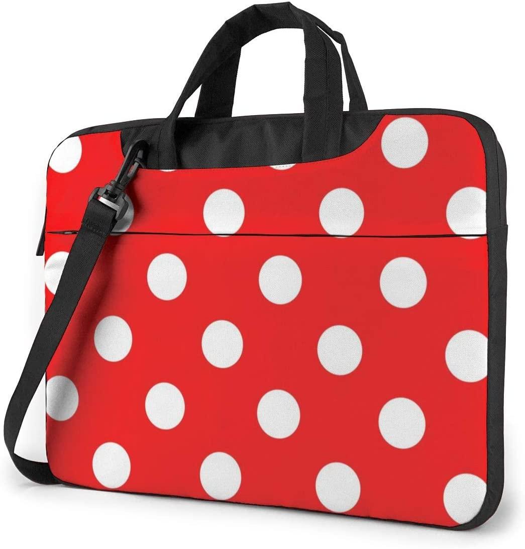 Polka Dot Red Laptop Shoulder Messenger Bag, Multi-Functional Notebook Sleeve Carrying Case with Strap & Trolley Belt for Lenovo Acer Asus Dell Lenovo Hp Samsung Ultrabook Chromebook 15.6 Inch