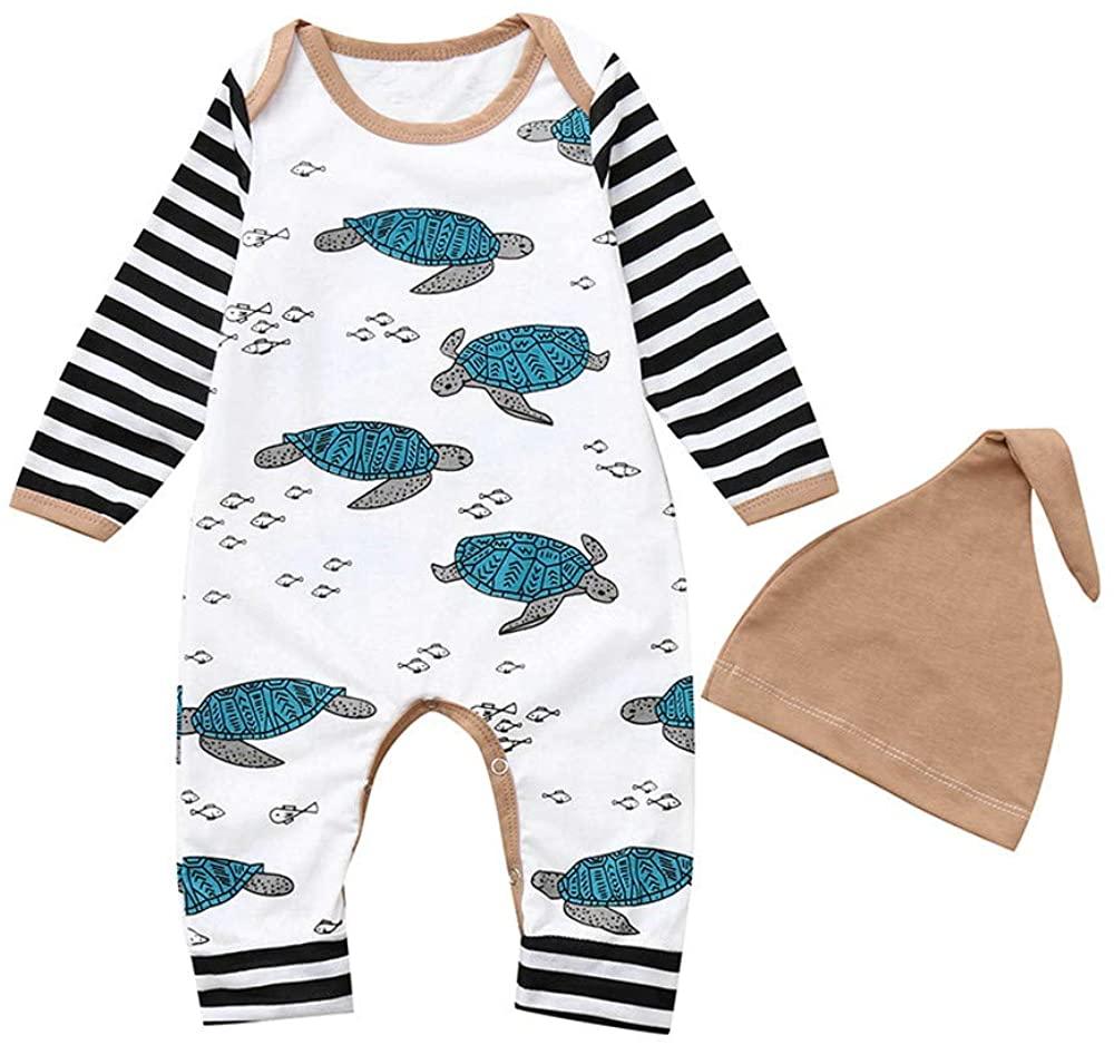 Arystk Baby Boy Romper Newborn Infant Girl Tortoise Striped Jumpsuit Hat Clothes Set