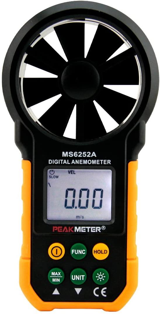 PEAKMETER MS6252A Digital Anemometer Handheld Wind Speed Meter Gauge Air Volume Meter Backlight Air Velocity Measurement