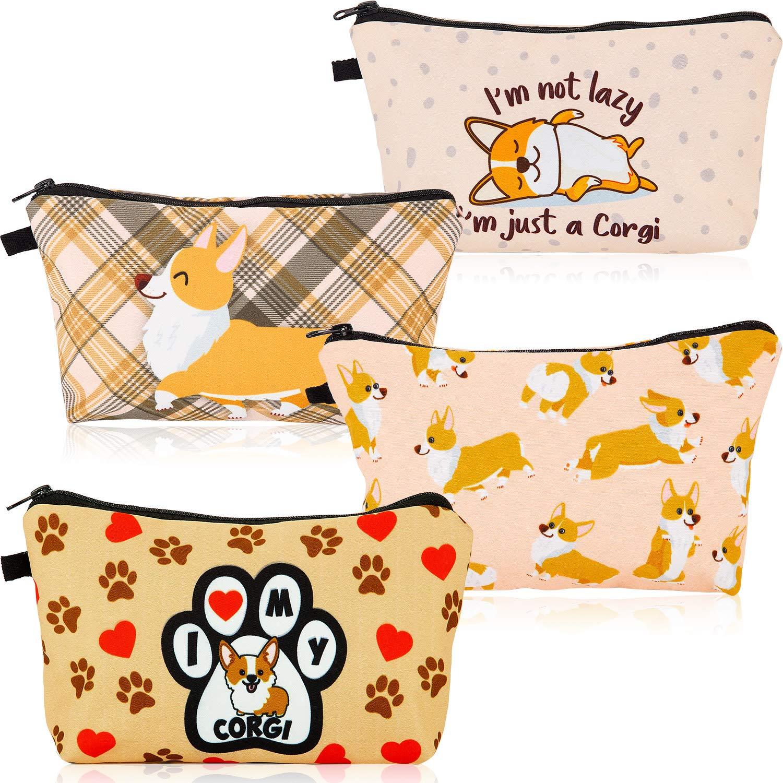 4 Pieces Funny Corgi Dogs Makeup Bag Travel Small Corgi Cosmetic Bag Corgi Pouch Handbag Organizer Cash Coin Purse Multifunction Toiletry Storage Pouch for Women