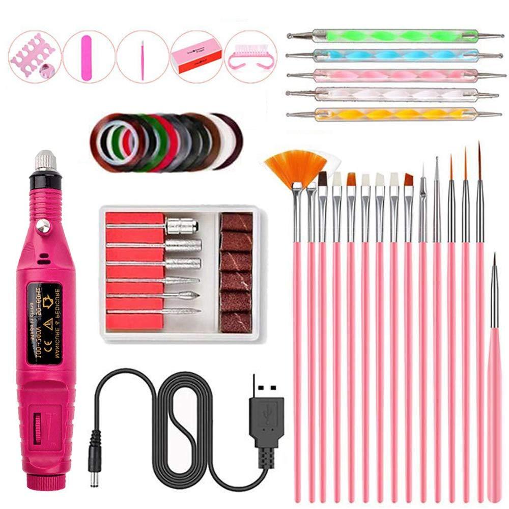 Electric Nail Drill File Kit - Nail Art Tools Kit Set, DIY Decoration Tools Manicure Set [35 Pcs]