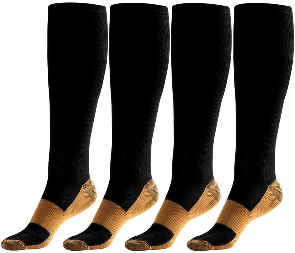 MYMYU Men Women Compression Socks 4Pairs 20-30 mmHg- Best for Running Medical (Small/Medium, Black2)