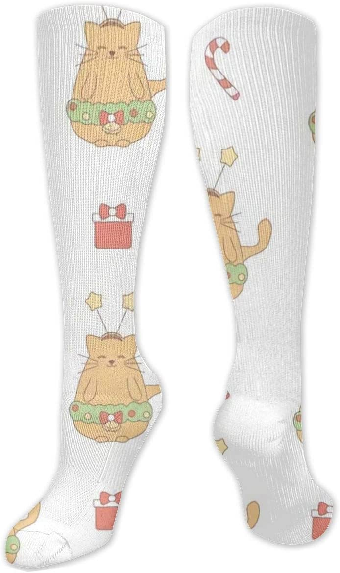 Compression Sock for Women & Men,Cute Lovely Christmas with Cat CasualLongKneeHighTubeSocksforRunnning,SoccerAthleticSports,Travel-50cm