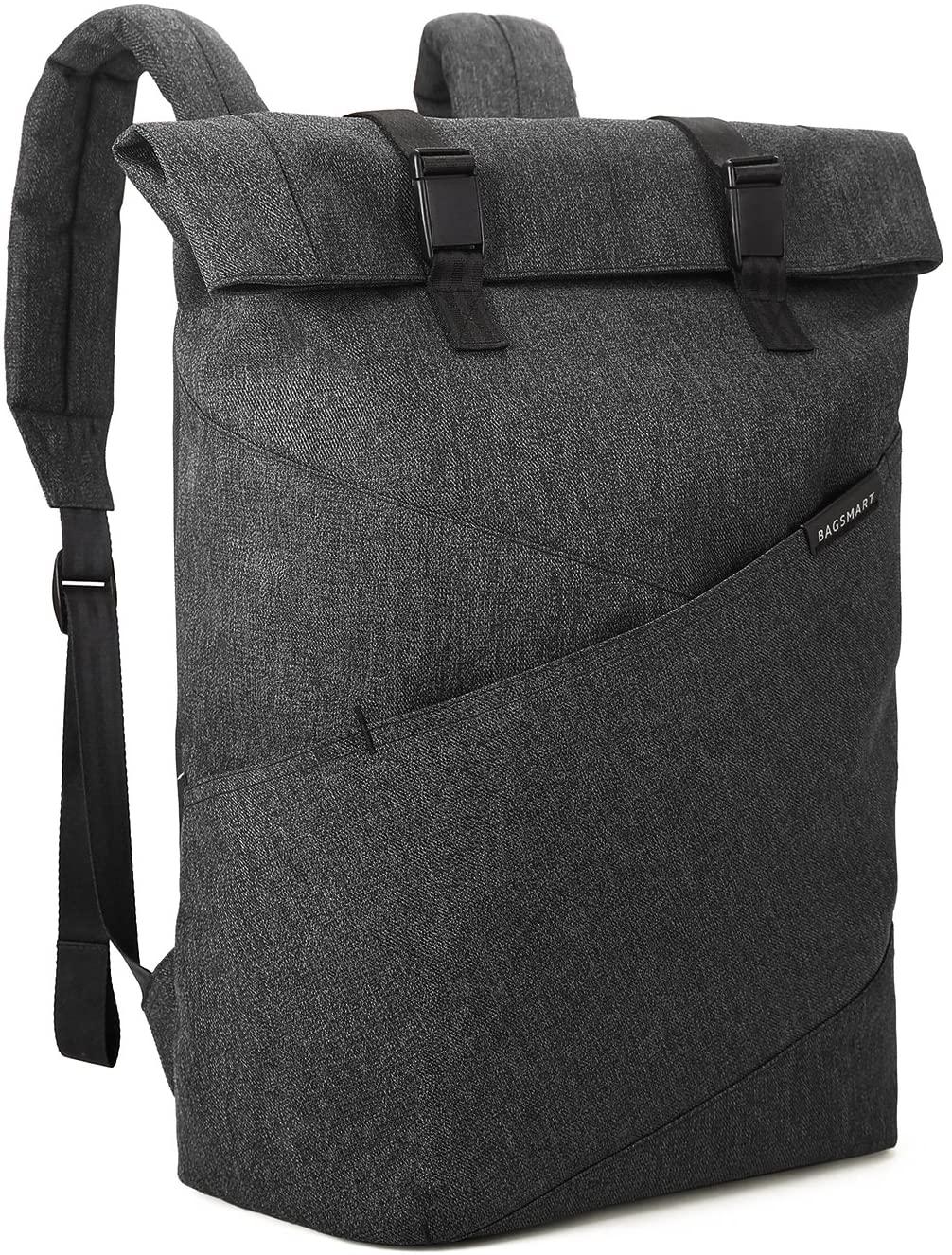 BAGSMART Laptop Backpack Travel Rolltop Backpack College School Computer Bag Fits 15.6 Inch Laptop and Notebook, Black